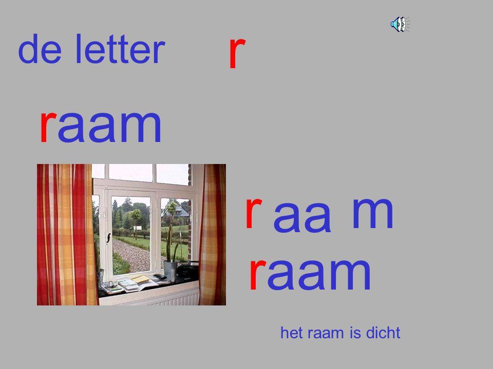 r de letter raam r m aa raam het raam is dicht