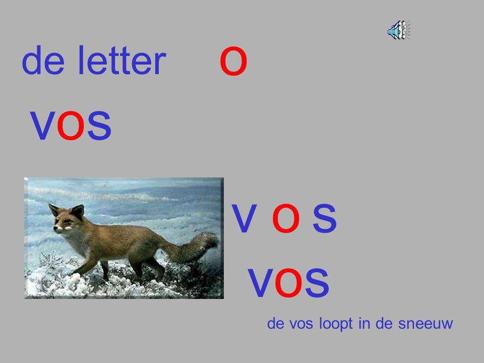 o de letter vos v o s vos de vos loopt in de sneeuw