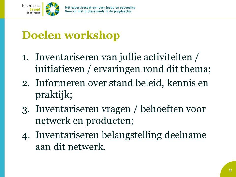 Doelen workshop Inventariseren van jullie activiteiten / initiatieven / ervaringen rond dit thema; Informeren over stand beleid, kennis en praktijk;
