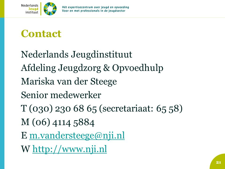 Contact Nederlands Jeugdinstituut Afdeling Jeugdzorg & Opvoedhulp