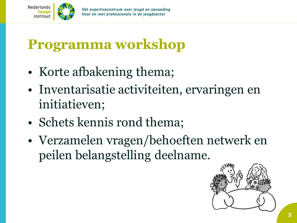 Programma workshop Korte afbakening thema;