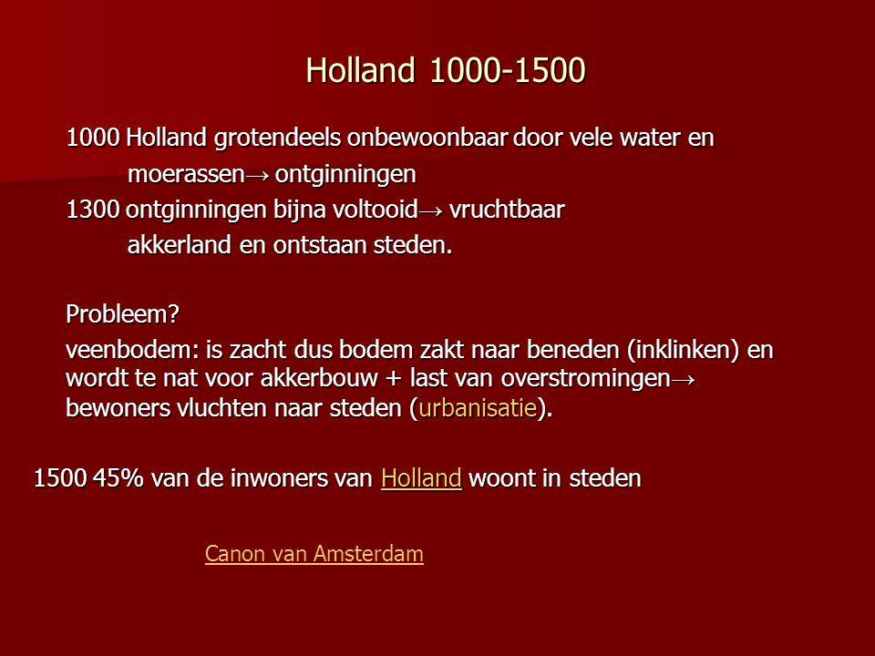 1000 Holland grotendeels onbewoonbaar door vele water en