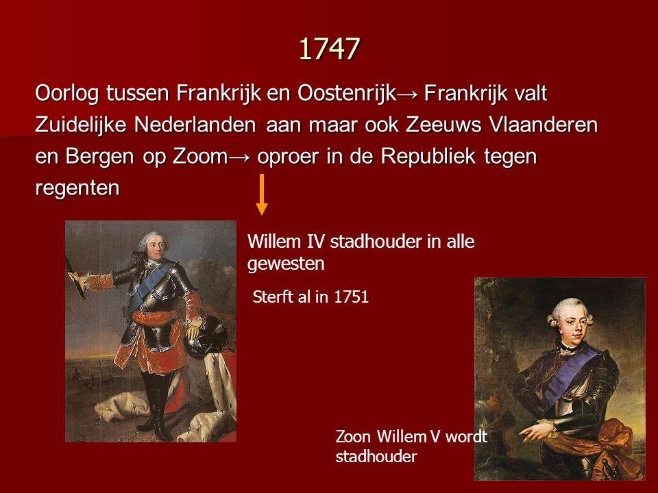1747 Oorlog tussen Frankrijk en Oostenrijk→ Frankrijk valt