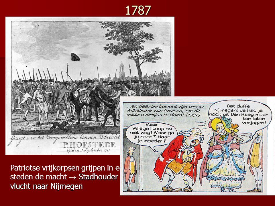 1787 Patriotse vrijkorpsen grijpen in een aantal steden de macht → Stadhouder Willem V vlucht naar Nijmegen.