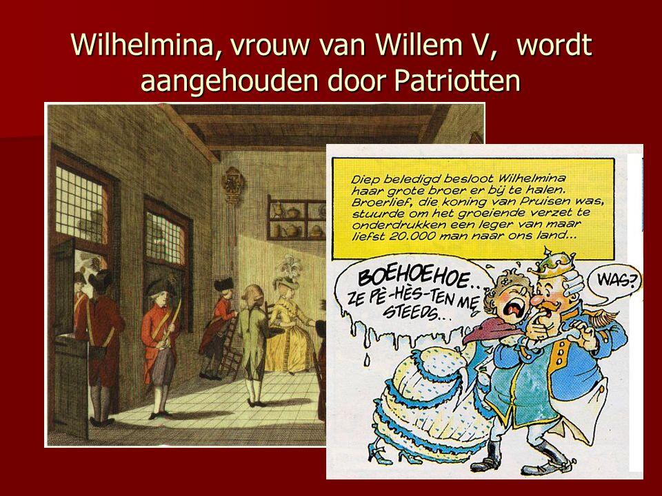 Wilhelmina, vrouw van Willem V, wordt aangehouden door Patriotten