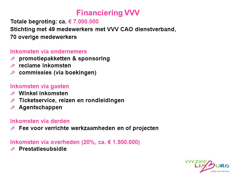 Financiering VVV Totale begroting: ca. € 7.000.000