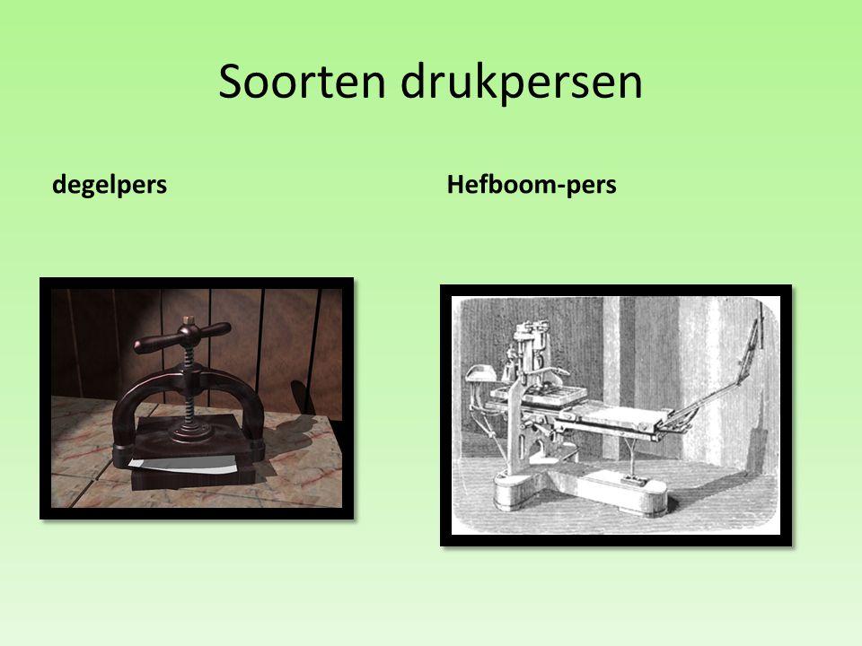 Soorten drukpersen degelpers Hefboom-pers