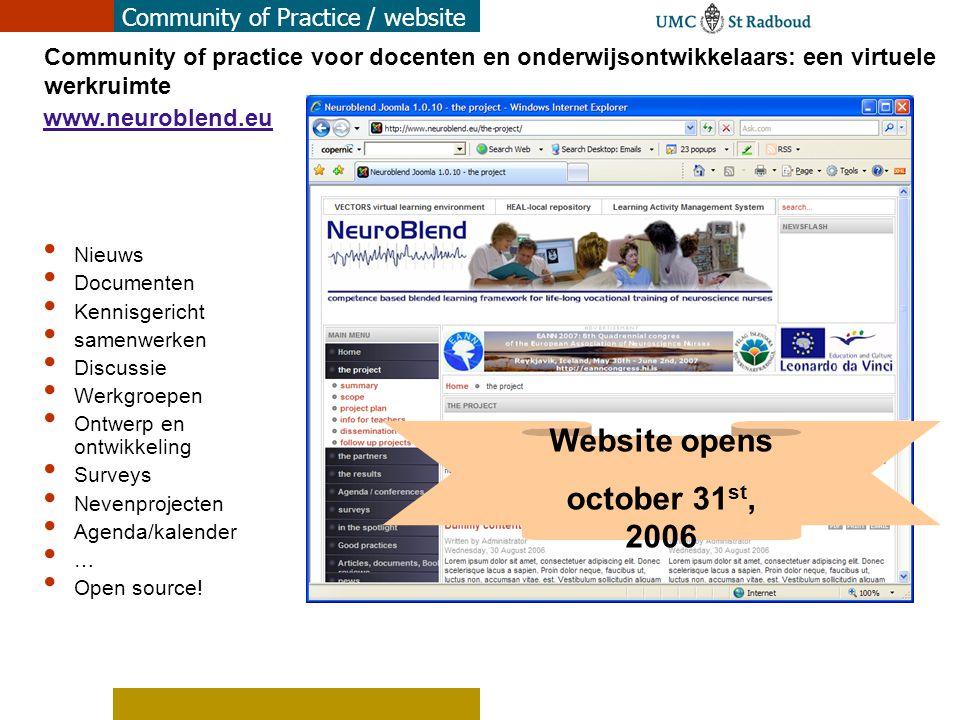 Website opens october 31st, 2006