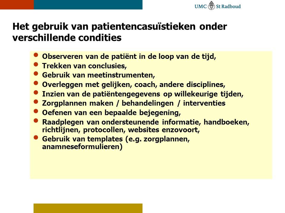 Het gebruik van patientencasuïstieken onder verschillende condities
