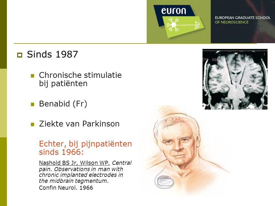 Sinds 1987 Chronische stimulatie bij patiënten Benabid (Fr)