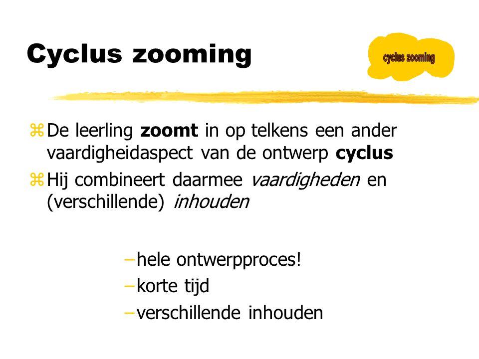Cyclus zooming cyclus zooming. De leerling zoomt in op telkens een ander vaardigheidaspect van de ontwerp cyclus.