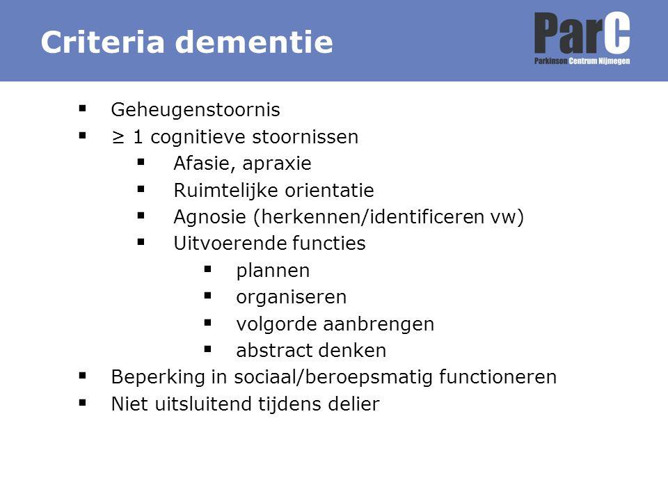 Criteria dementie Geheugenstoornis ≥ 1 cognitieve stoornissen