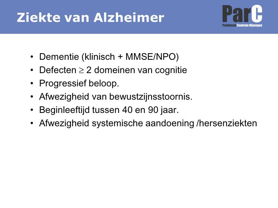 Ziekte van Alzheimer Dementie (klinisch + MMSE/NPO)