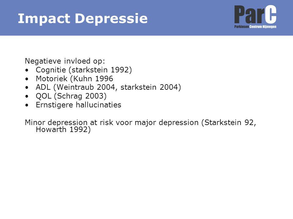 Impact Depressie Negatieve invloed op: Cognitie (starkstein 1992)