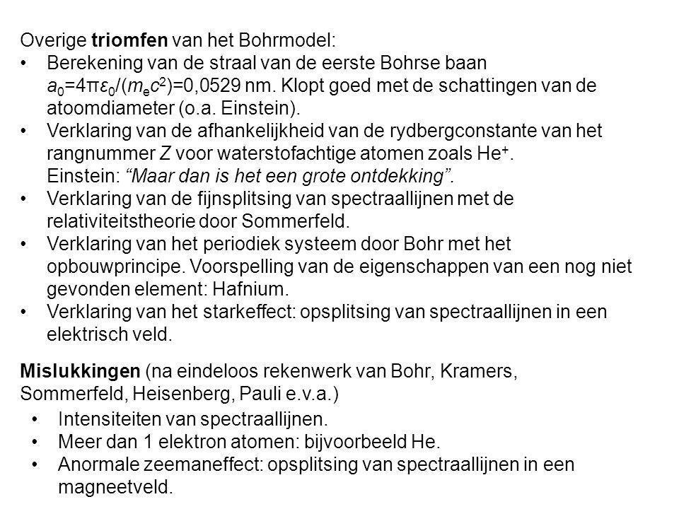 Overige triomfen van het Bohrmodel: