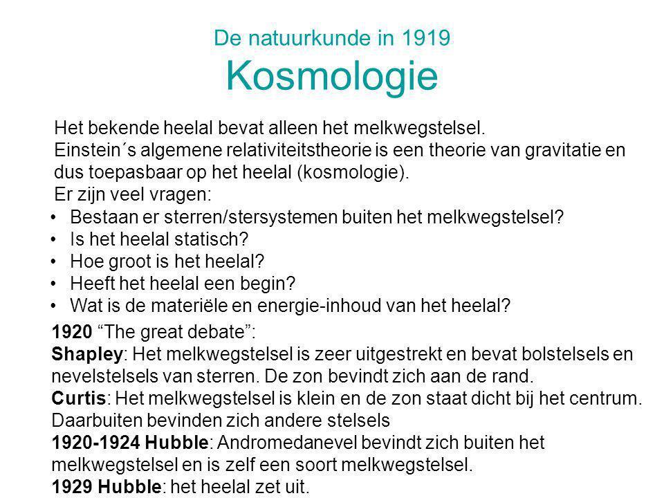 De natuurkunde in 1919 Kosmologie