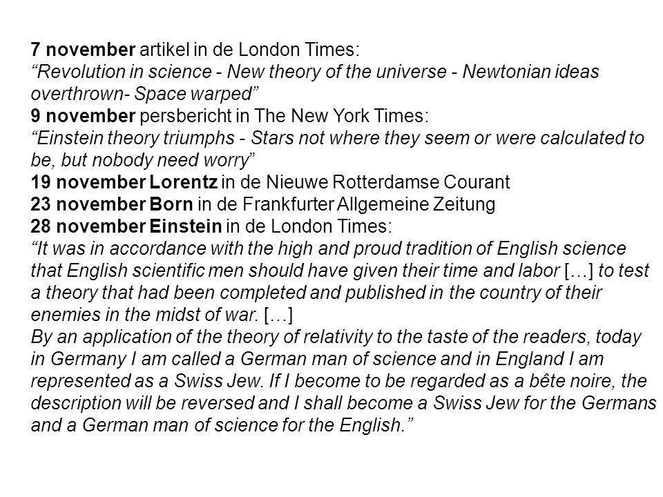 7 november artikel in de London Times:
