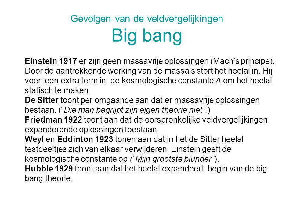 Gevolgen van de veldvergelijkingen Big bang