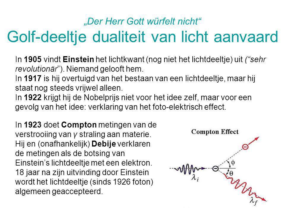 """Der Herr Gott würfelt nicht Golf-deeltje dualiteit van licht aanvaard"