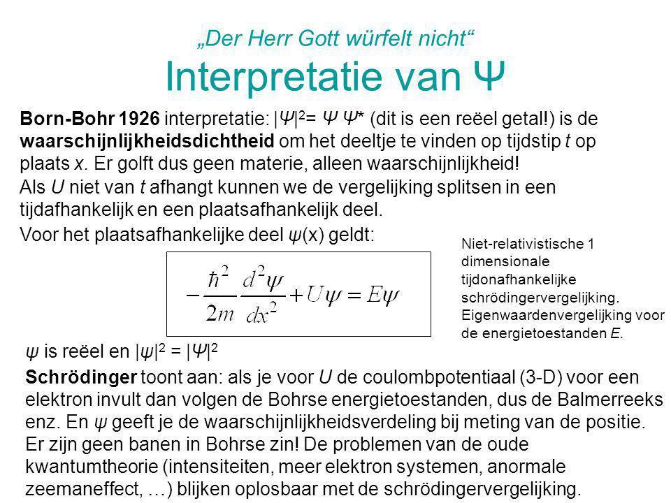 """""""Der Herr Gott würfelt nicht Interpretatie van Ψ"""