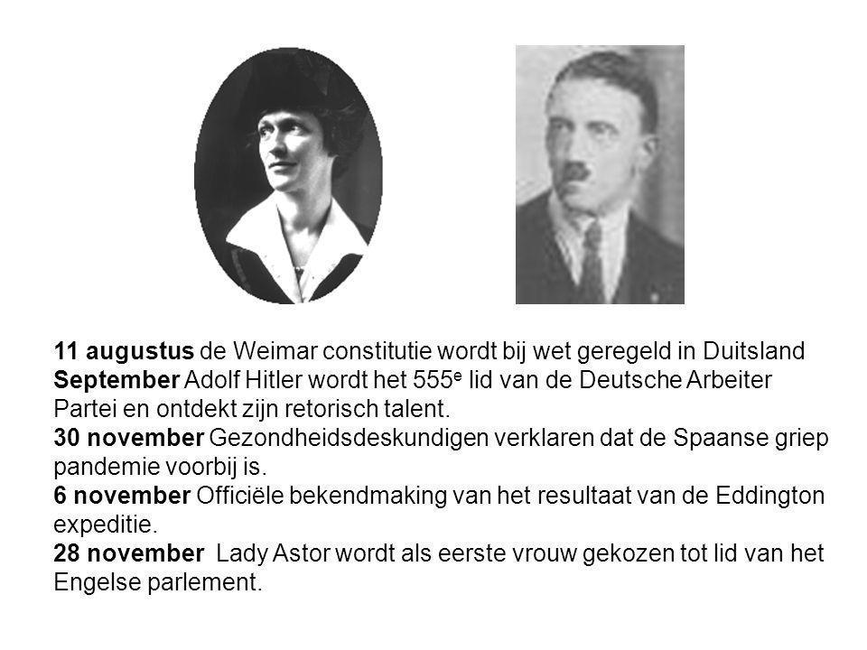 11 augustus de Weimar constitutie wordt bij wet geregeld in Duitsland
