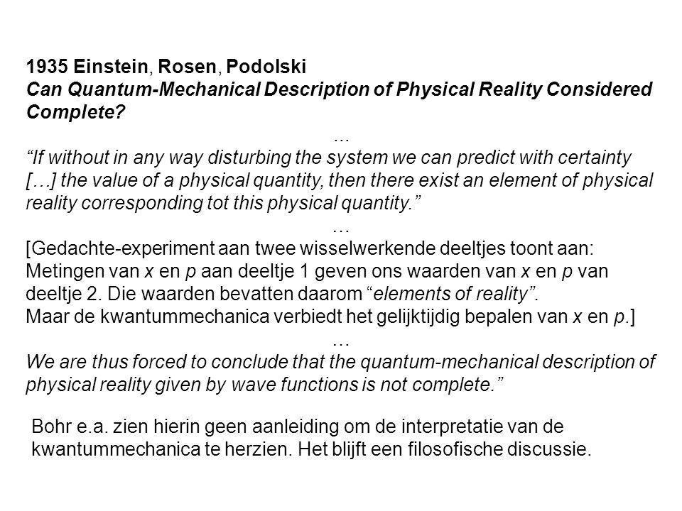1935 Einstein, Rosen, Podolski