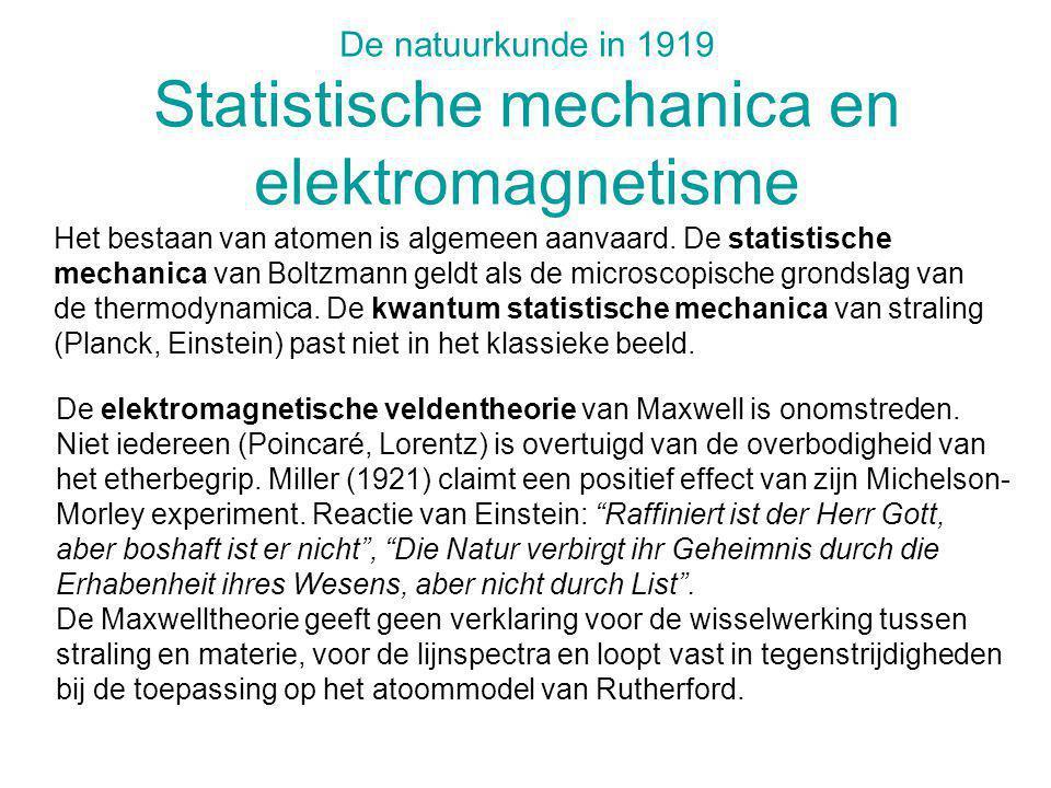 De natuurkunde in 1919 Statistische mechanica en elektromagnetisme