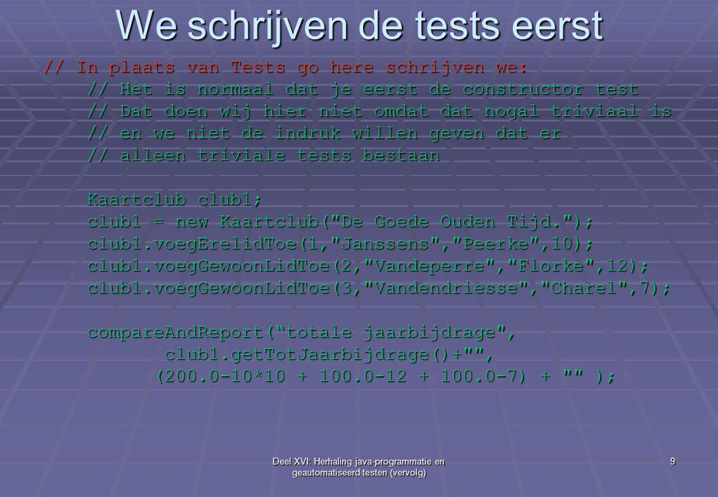 We schrijven de tests eerst