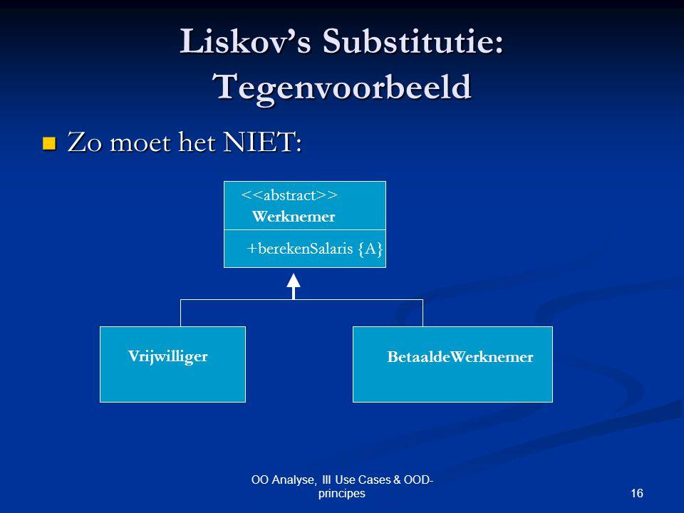 Liskov's Substitutie: Tegenvoorbeeld