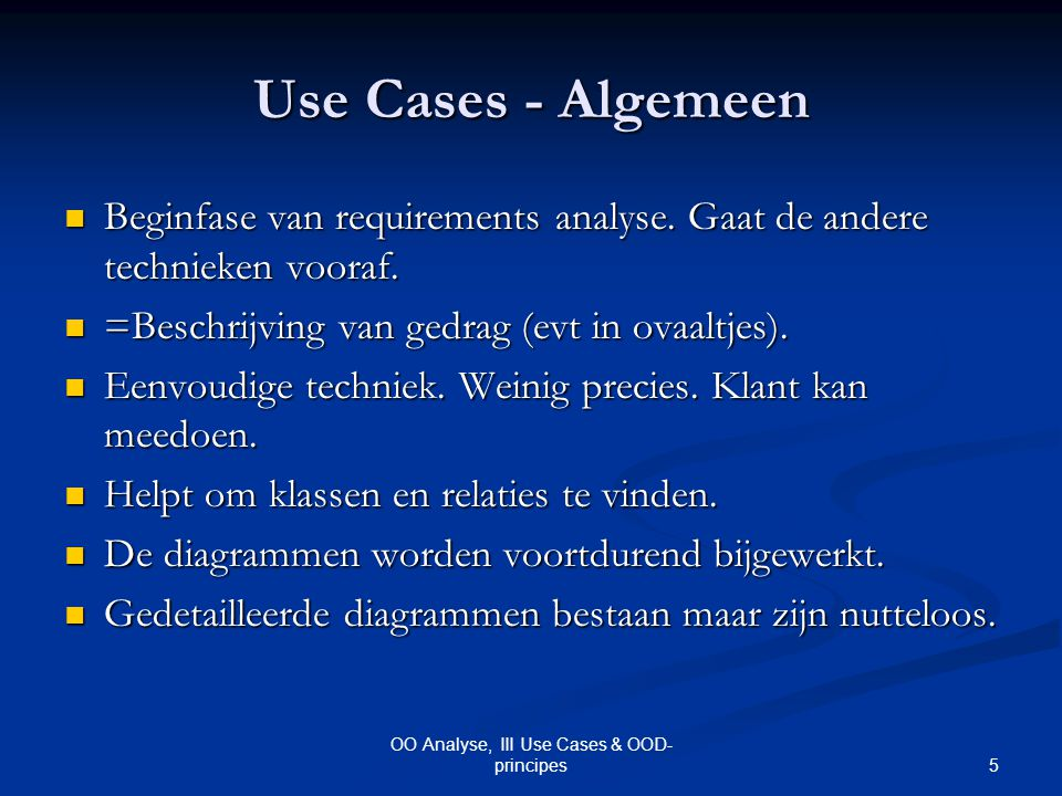 OO Analyse, III Use Cases & OOD-principes