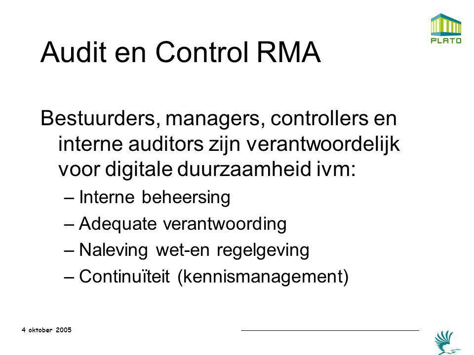 Audit en Control RMA Bestuurders, managers, controllers en interne auditors zijn verantwoordelijk voor digitale duurzaamheid ivm: