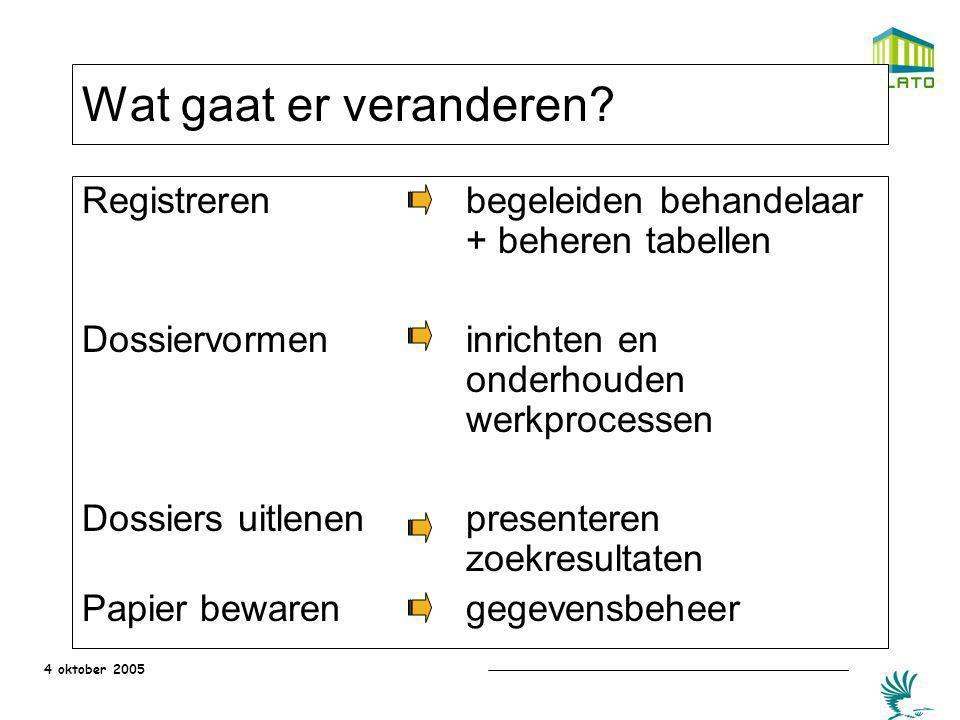 Wat gaat er veranderen Registreren begeleiden behandelaar + beheren tabellen.