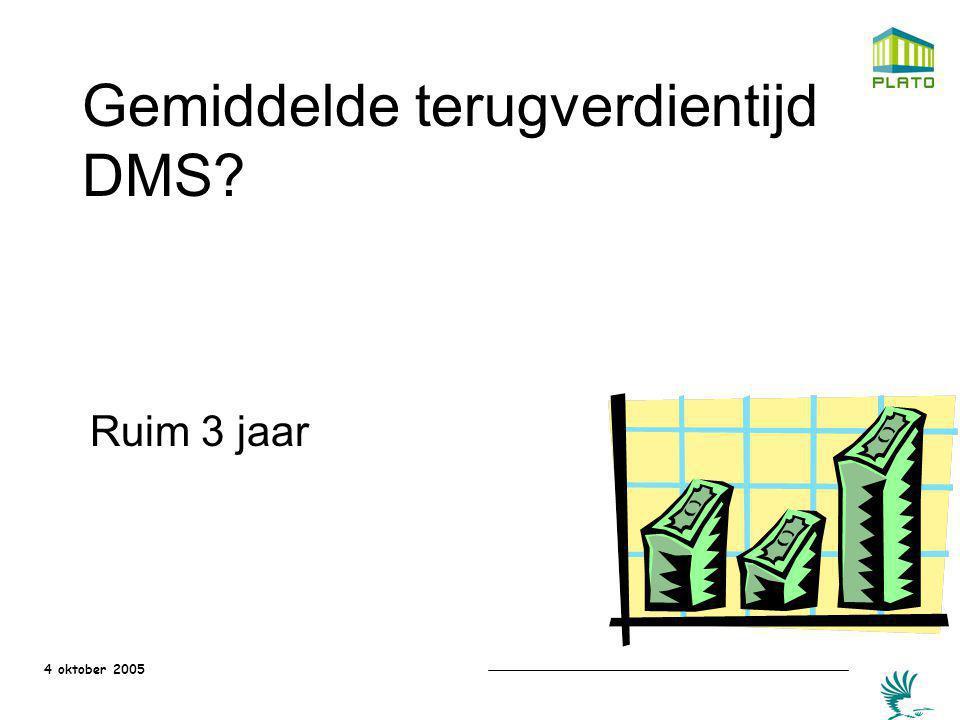 Gemiddelde terugverdientijd DMS