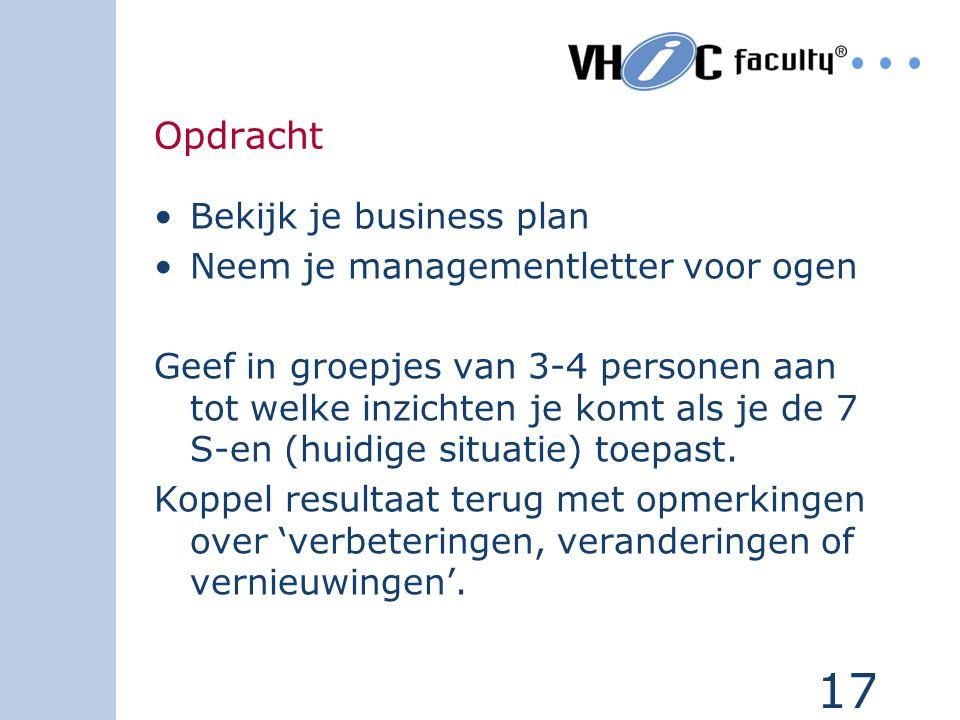 Opdracht Bekijk je business plan Neem je managementletter voor ogen
