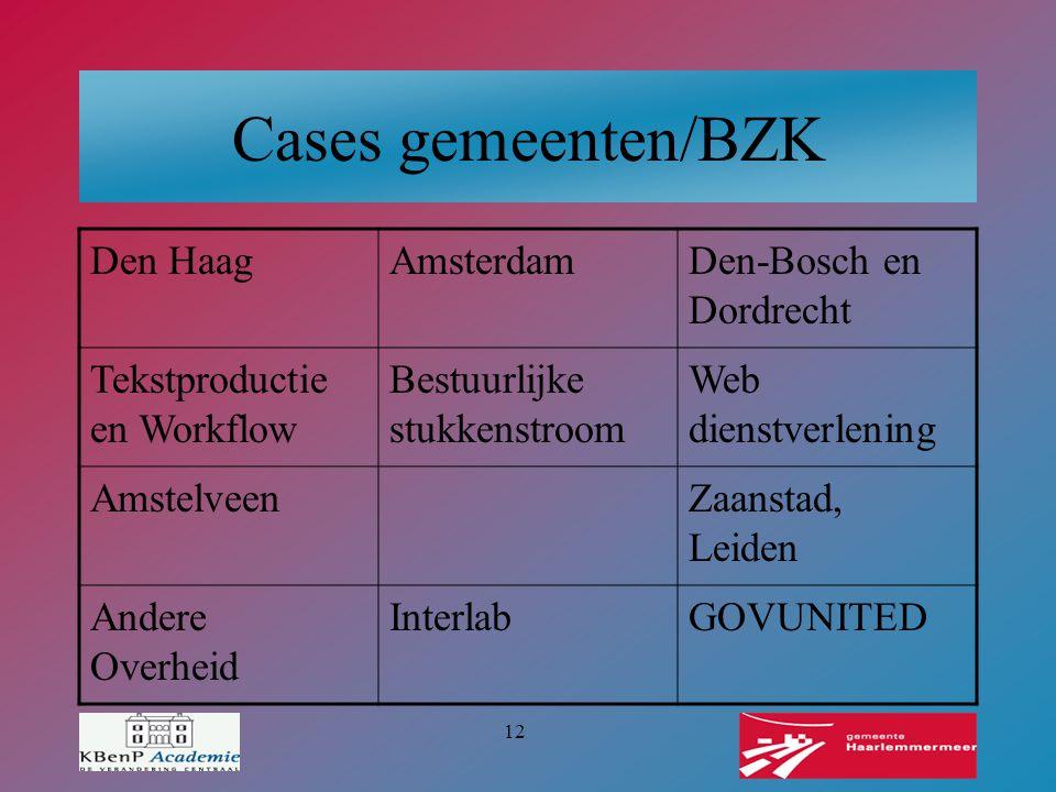 Cases gemeenten/BZK Den Haag Amsterdam Den-Bosch en Dordrecht