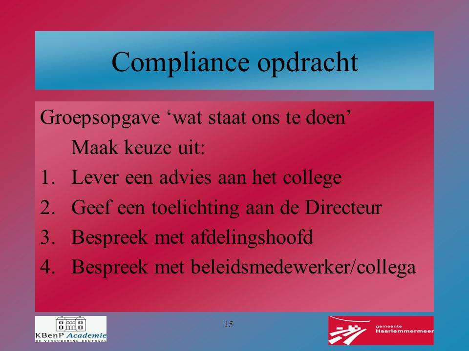 Compliance opdracht Groepsopgave 'wat staat ons te doen'