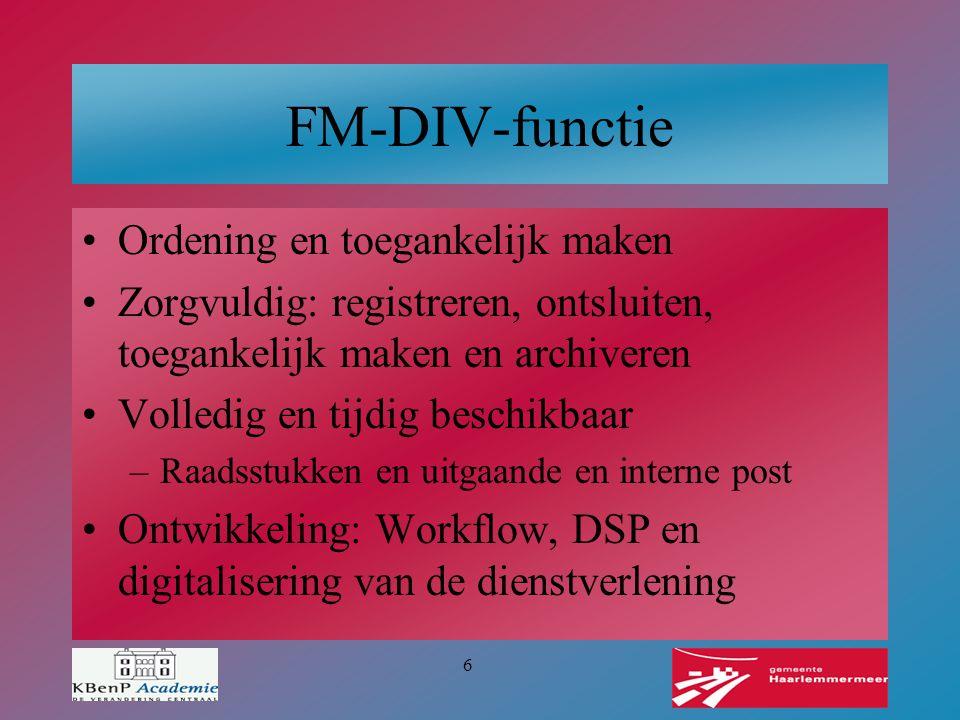 FM-DIV-functie Ordening en toegankelijk maken