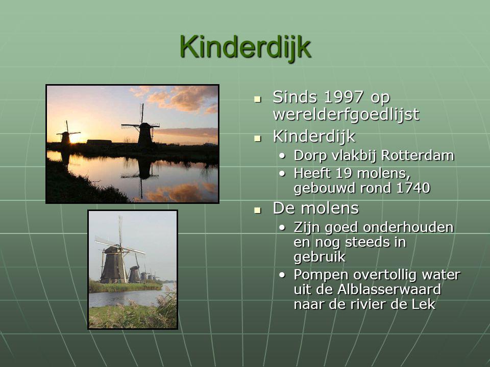Kinderdijk Sinds 1997 op werelderfgoedlijst Kinderdijk De molens