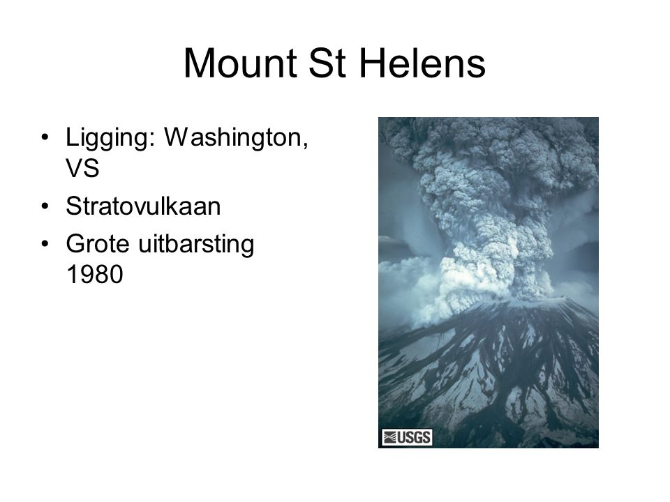 Mount St Helens Ligging: Washington, VS Stratovulkaan