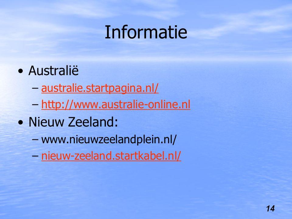 Informatie Australië Nieuw Zeeland: australie.startpagina.nl/