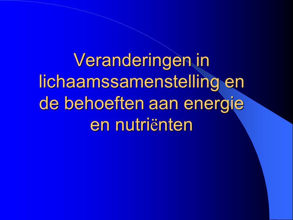 Veranderingen in lichaamssamenstelling en de behoeften aan energie en nutriënten