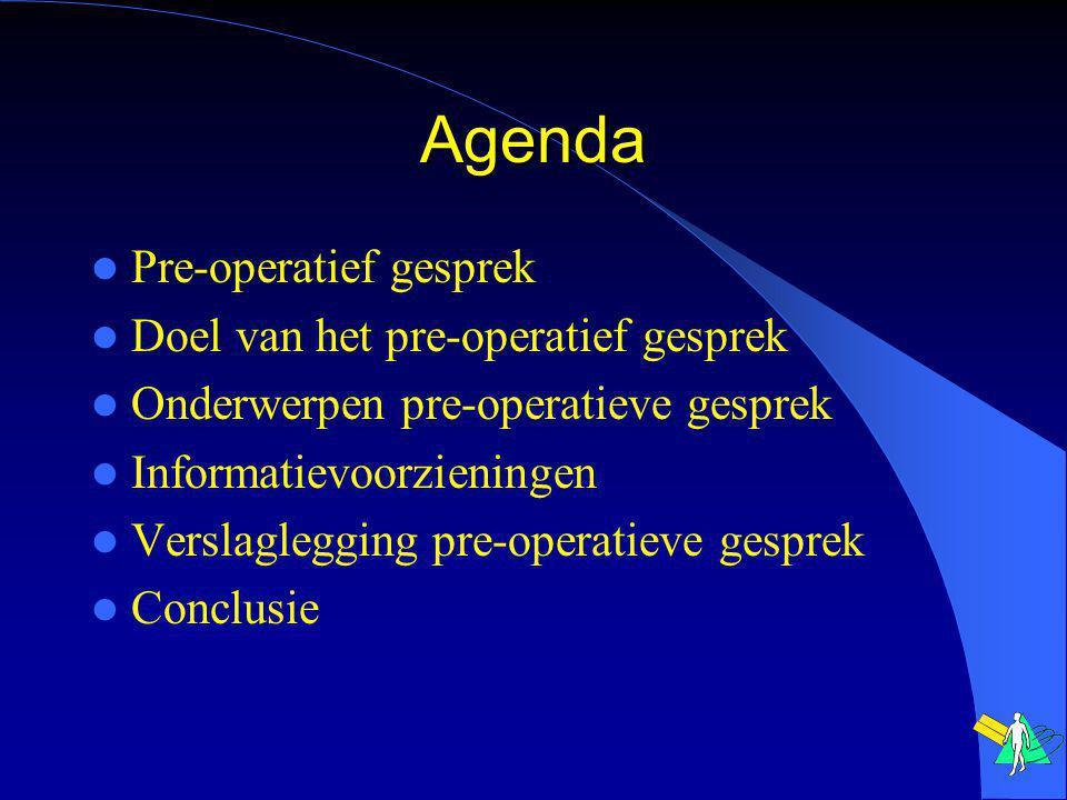 Agenda Pre-operatief gesprek Doel van het pre-operatief gesprek