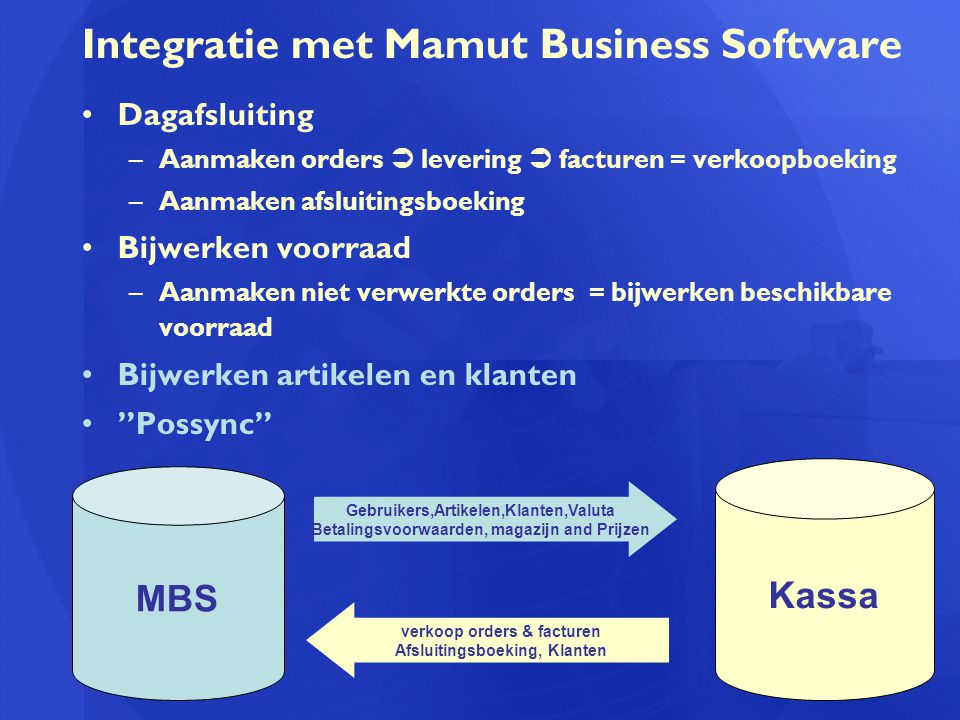 Integratie met Mamut Business Software