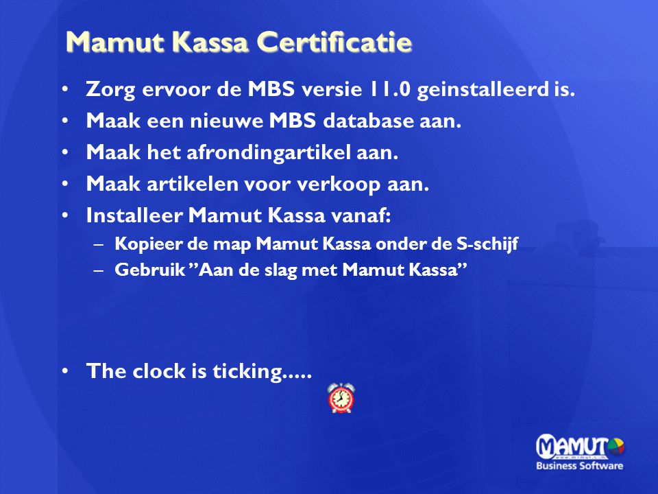 Mamut Kassa Certificatie