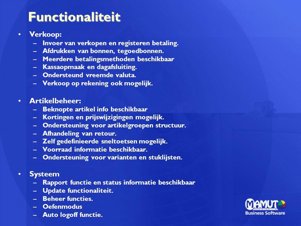 Functionaliteit Verkoop: Artikelbeheer: Systeem