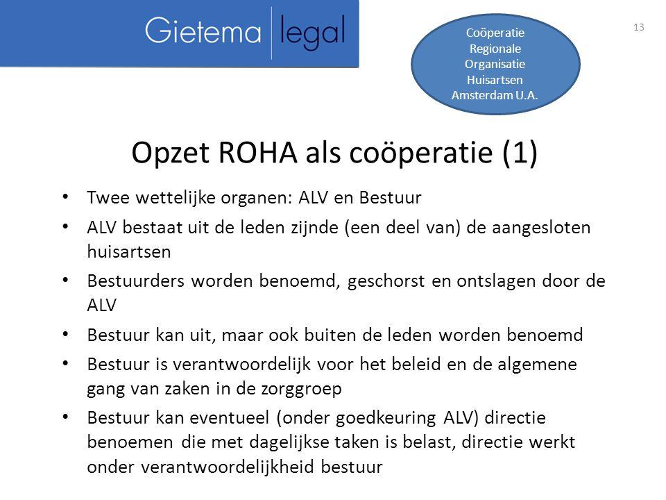 Opzet ROHA als coöperatie (1)