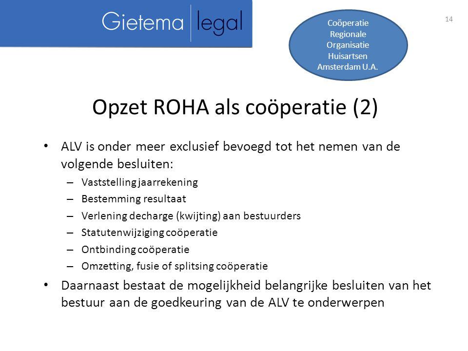 Opzet ROHA als coöperatie (2)