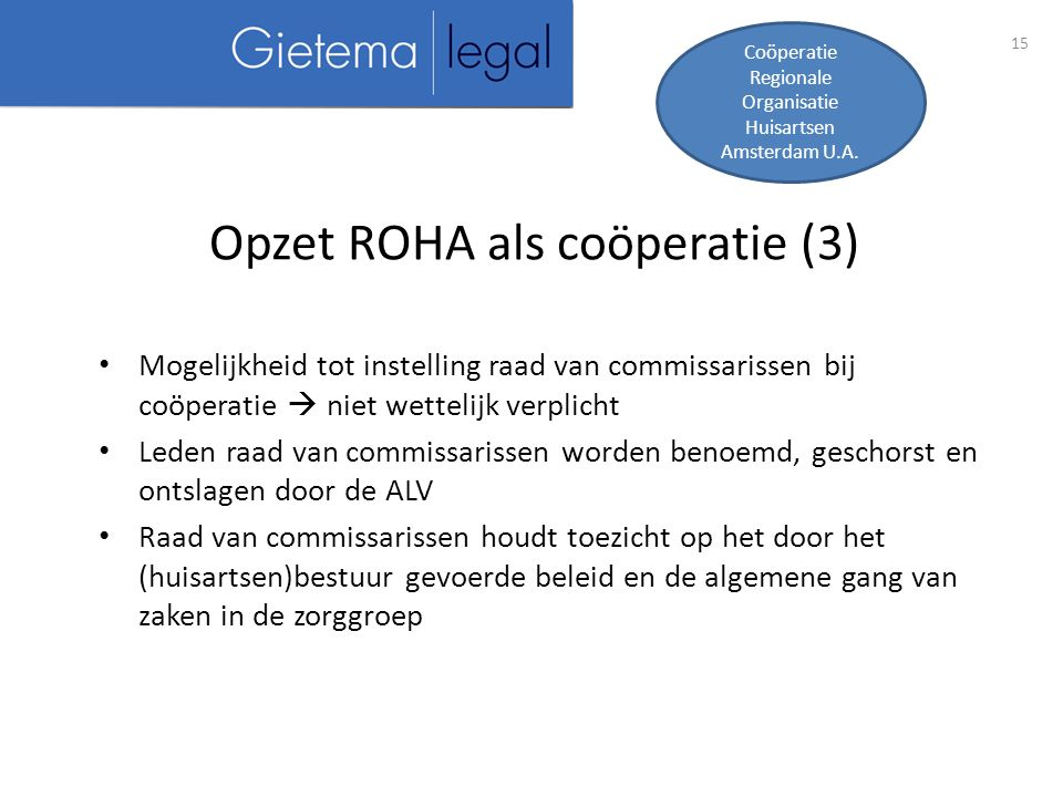 Opzet ROHA als coöperatie (3)
