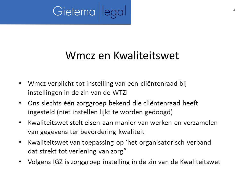 Wmcz en Kwaliteitswet Wmcz verplicht tot instelling van een cliëntenraad bij instellingen in de zin van de WTZi.
