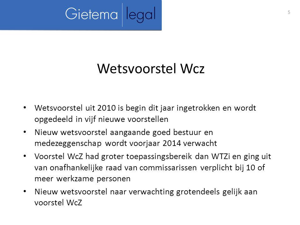 Wetsvoorstel Wcz Wetsvoorstel uit 2010 is begin dit jaar ingetrokken en wordt opgedeeld in vijf nieuwe voorstellen.